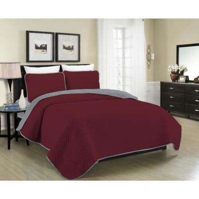 Reversible Austin 3-Piece Burgundy and Grey King Quilt Set