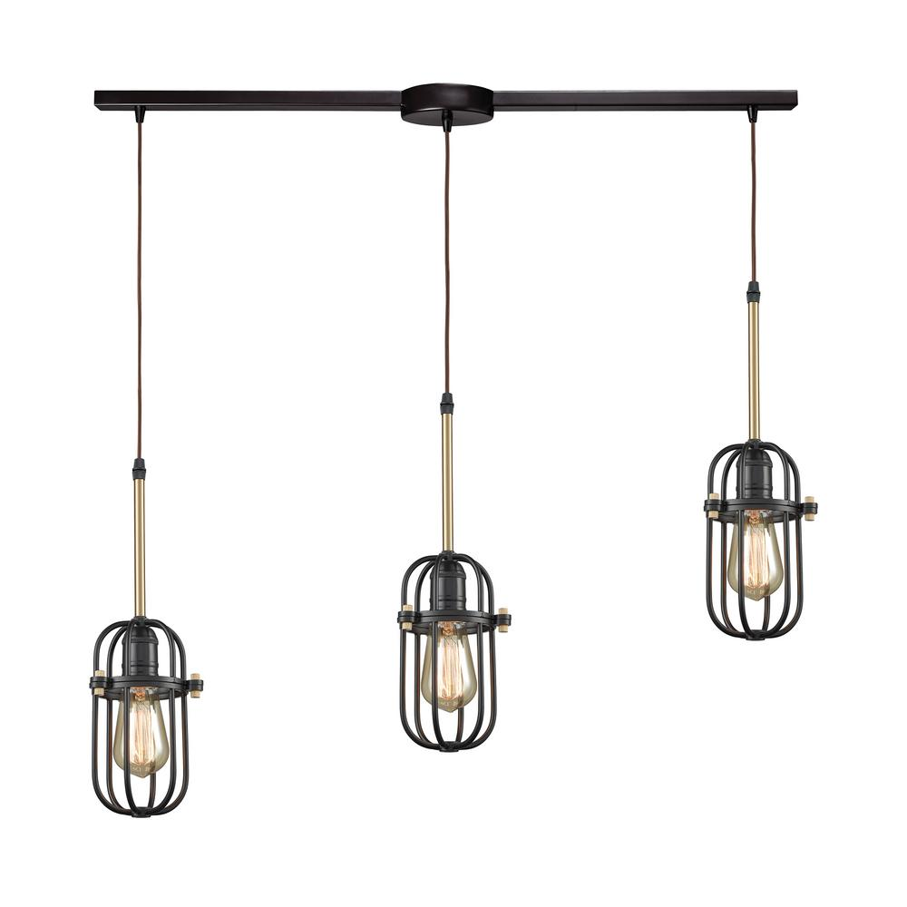 An Lighting Binghamton 3 Light Linear Bar In Oil Rubbed Bronze And Satin Br Pendant