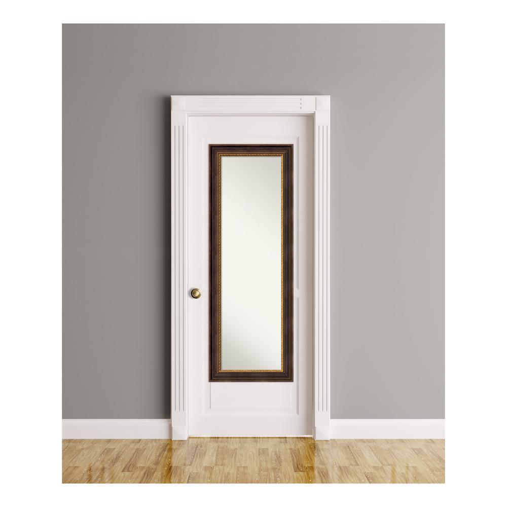Veneto Distressed Black Wood 19 in. W x 53 in. H On The Door Mirror