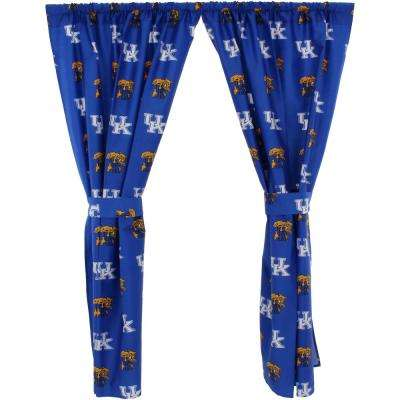 42 in. W x 84 in. L  Kentucky Wildcats Cotton With Tie Back Curtain in Blue  (2 Panels)