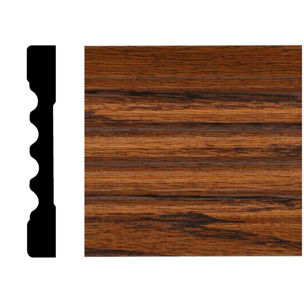 9588EC 7/16 in. x 3 in. x 7 ft. Oak Fluted Casing Chestnut Stain Moulding