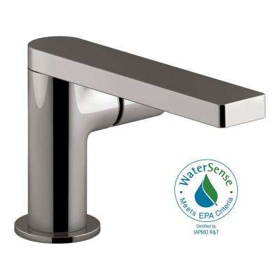 Composed Single Hole Single-Handle Bathroom Faucet with Cylindrical Handle and Drain in Titanium