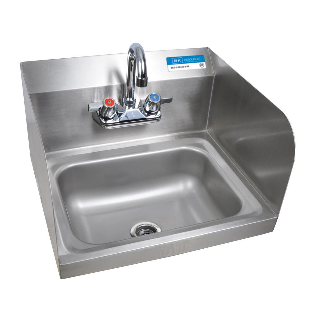 Bk Resources Wall Mount Hand Sink Deep Bowl With Side Splashes And 4