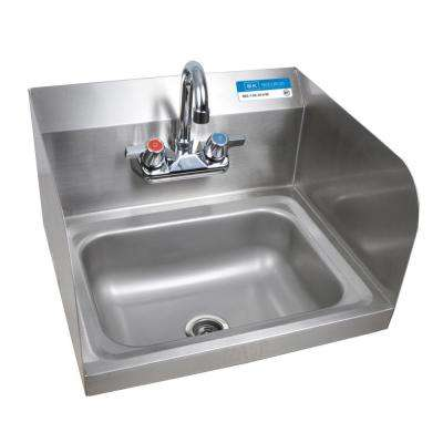 Wall Mount Hand Sink Deep Bowl with Side Splashes and 4 in. OC Splash Mount Faucet in Stainless Steel