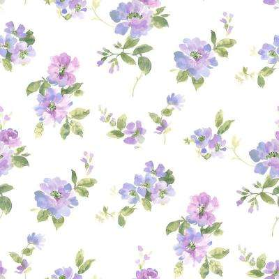 Captiva Purple Watercolor Floral Wallpaper