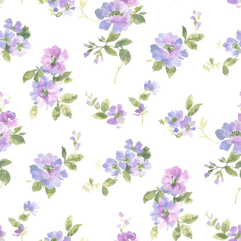 Captiva Purple Watercolor Floral Purple Wallpaper Sample