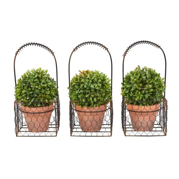 9.5 in. Faux Boxwood Topiary Arrangement with Decorative Basket (Set of 3)
