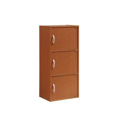 3-Shelf, 36 in. H Cherry Bookcase with Doors