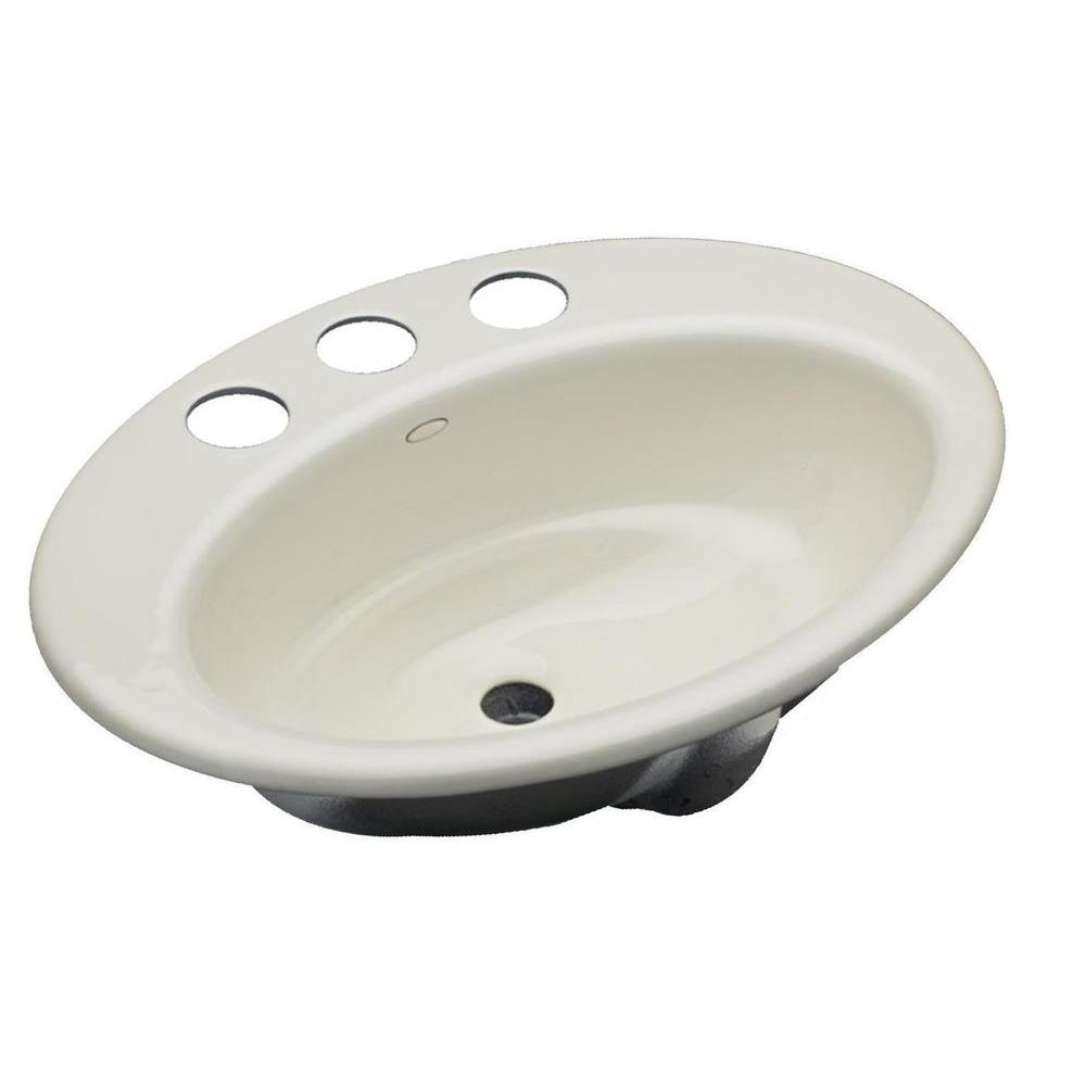 Kohler Thoreau Drop In Cast Iron Bathroom Sink In Biscuit