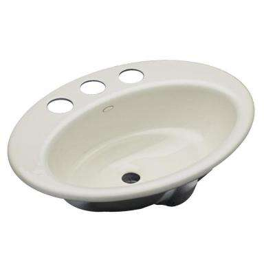 Thoreau Drop-In Cast Iron Bathroom Sink in Biscuit with Overflow Drain