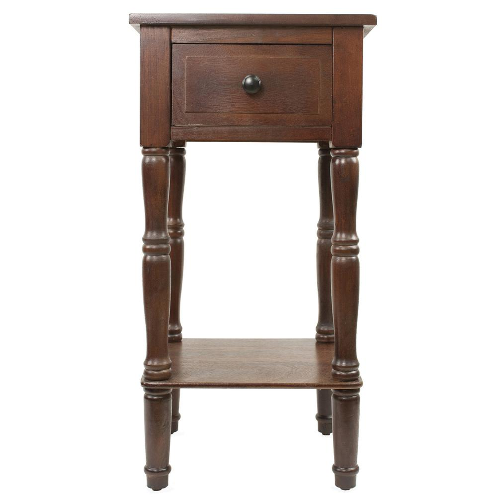 Decor Therapy Simplify Walnut 1 Drawer End Table