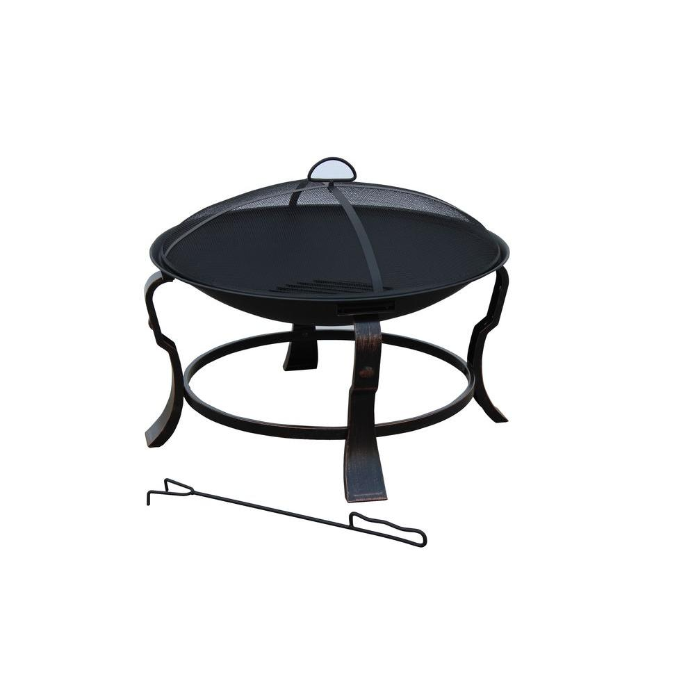 Hampton Bay 24 in. Ashmore Round Steel Fire Pit-FT-01H - The Home ...