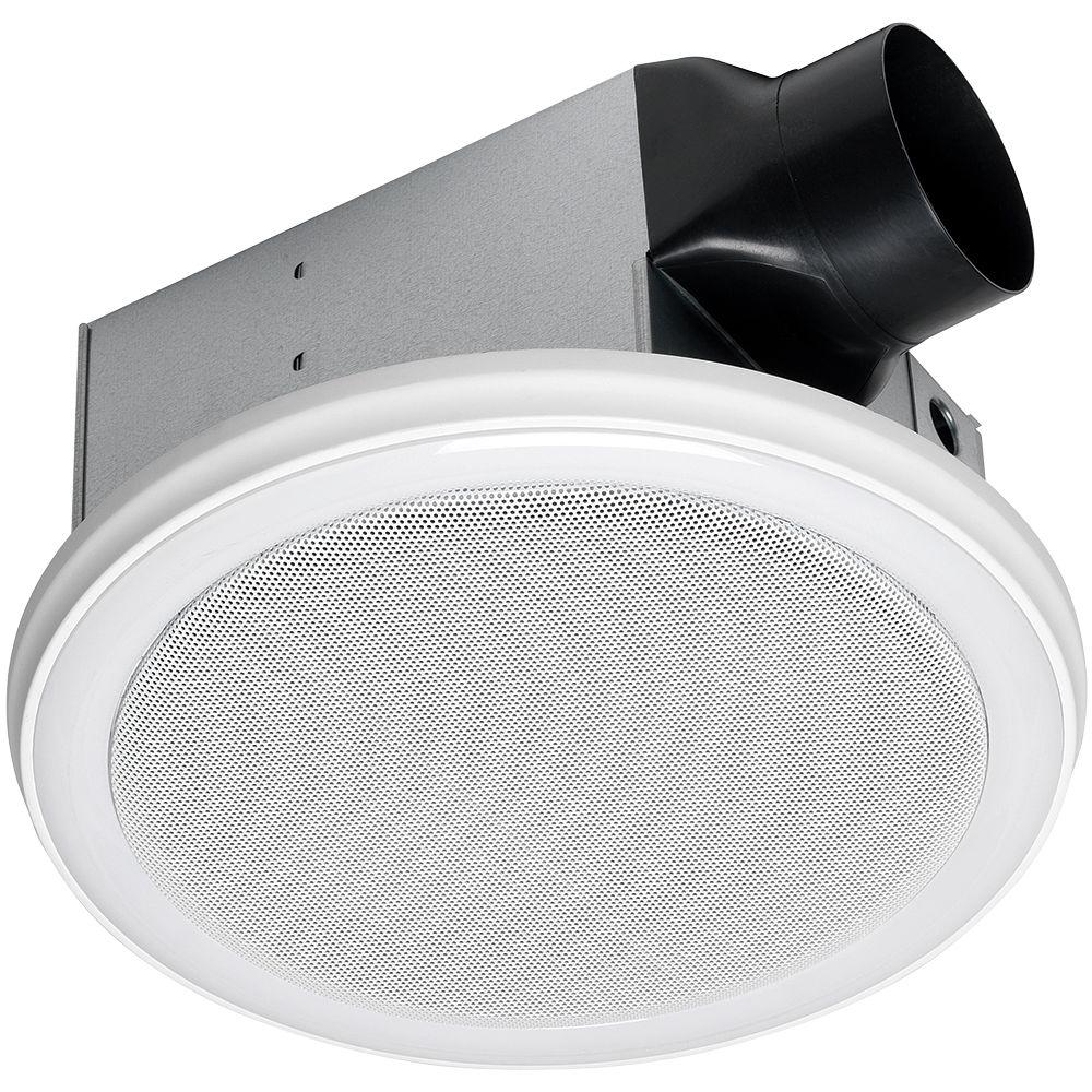 Home netwerks decorative white 100 cfm bluetooth stereo - Round bathroom exhaust fan with light ...