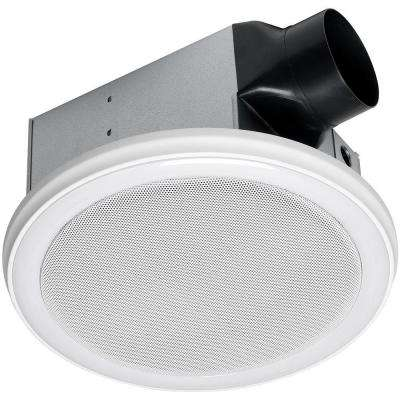 Decorative White 100 CFM Bluetooth Stereo Speaker Bathroom Exhaust Fan with LED Light and Remote