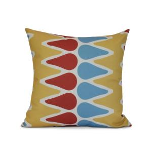 16 inch Gold Multi-Colored Picks Geometric Print Pillow by
