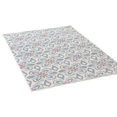 Shelby Blue and Ivory 5 ft. x 8 ft. Geometric Floral Indoor/Outdoor Area Rug