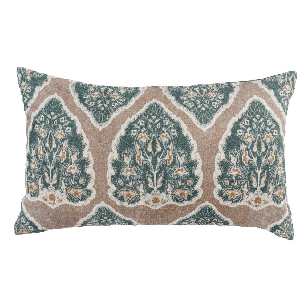 Cara Bay Green/ Tan 14 in. x 26 in. Rectangle Printed Velvet Decorative Pillow