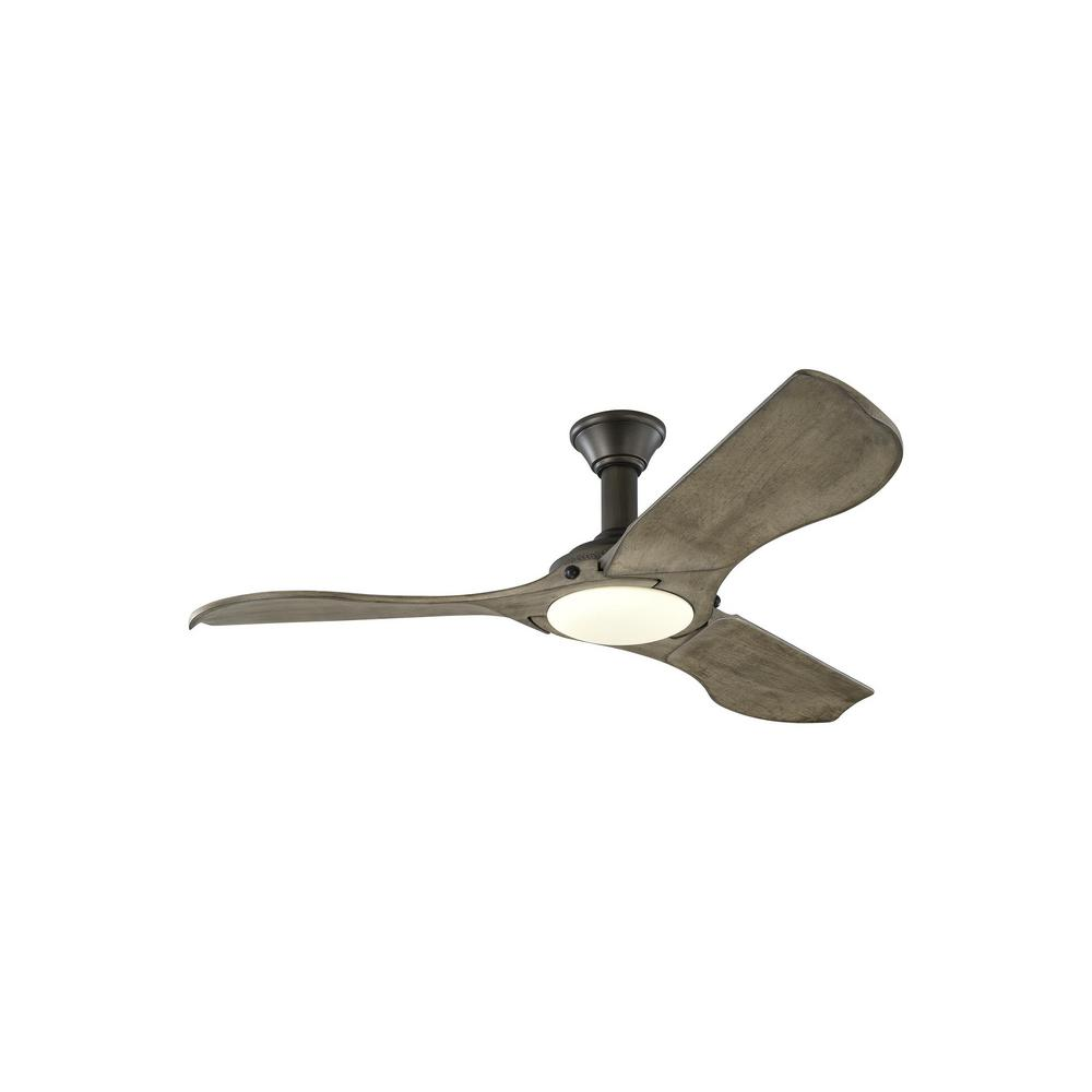 Monte Carlo Minimalist 56 in. LED Indoor/Outdoor Aged Pewter Ceiling Fan with Light Grey Weathered Oak Blades