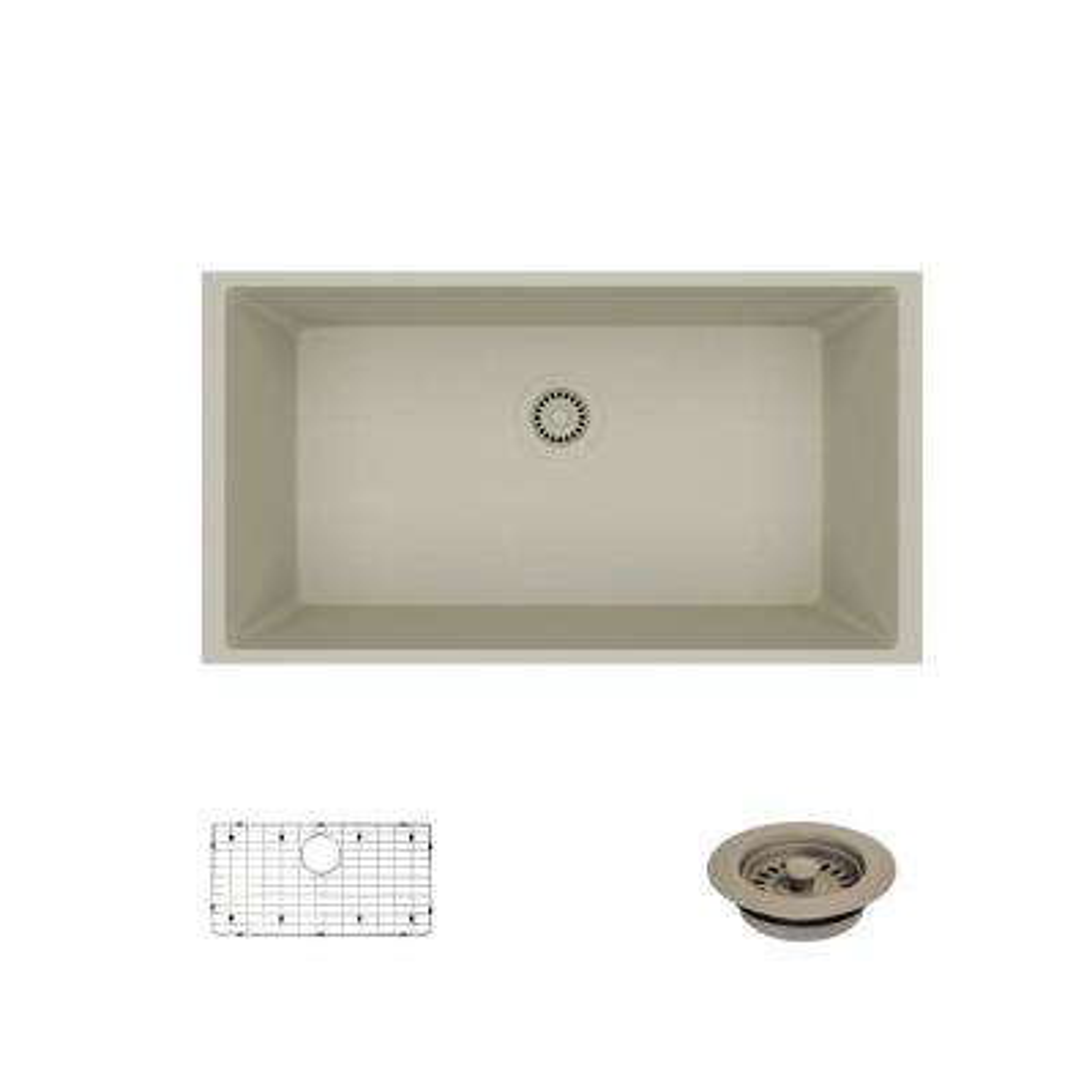 Undermount Composite Granite 32-5/8 in. Single Bowl Kitchen Sink in Concrete