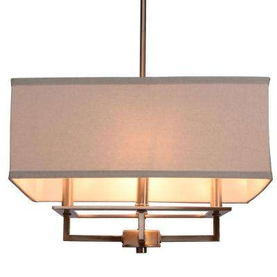 4-Light Brushed Nickel Chandelier with Rectangular Light Gray Linen Shade