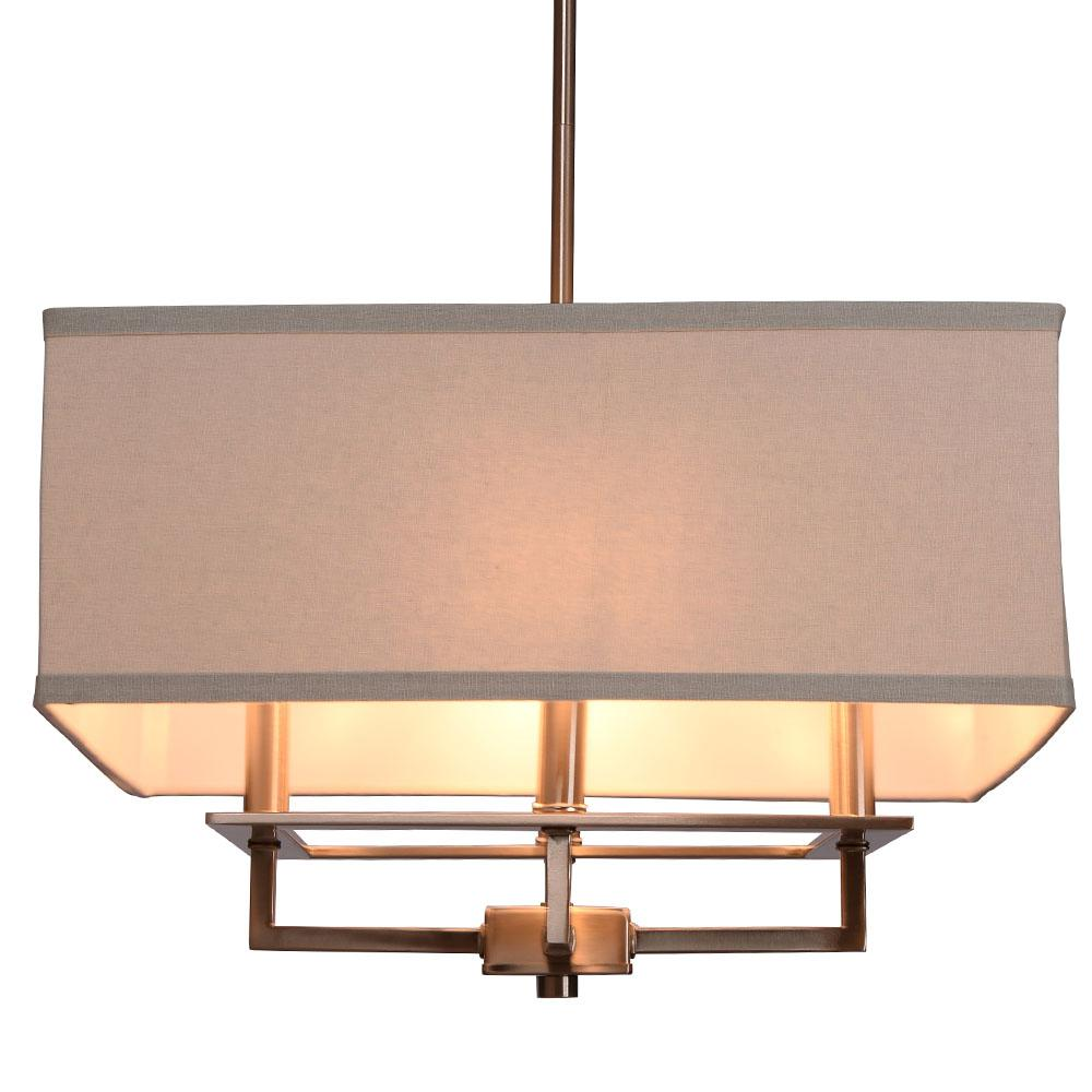 Home Decorators Collection 4-Light Brushed Nickel Chandelier with Square Light Gray Linen Shade
