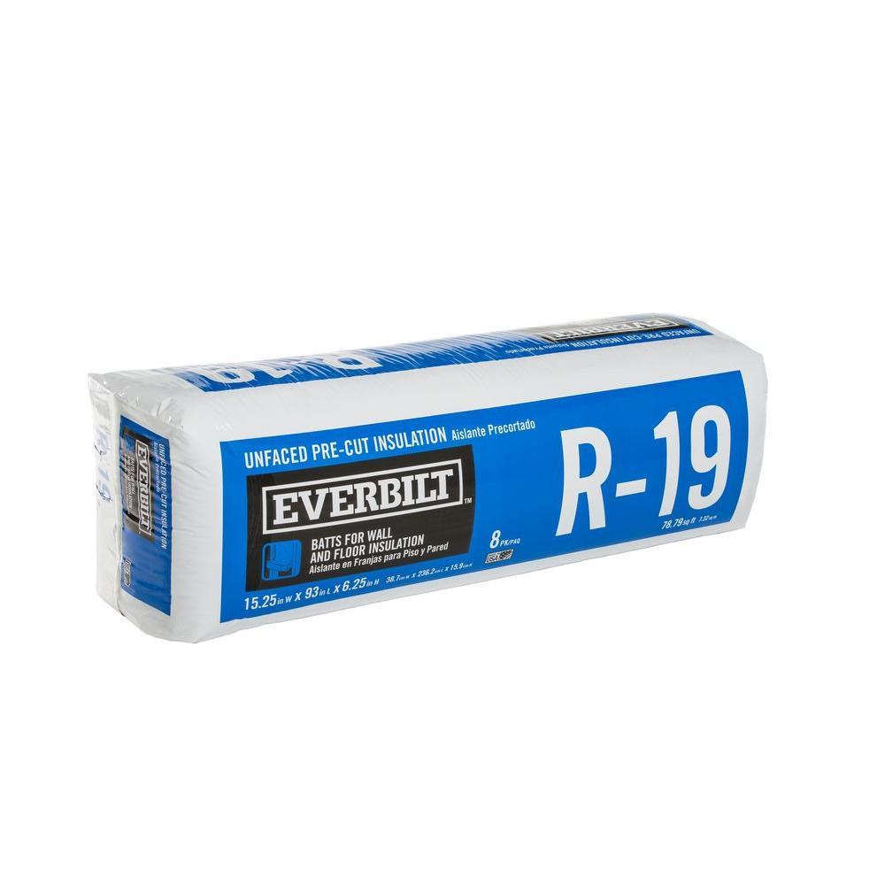 Everbilt R-19 Unfaced Fiberglass Insulation Batt 15.25 in. x 93 in.