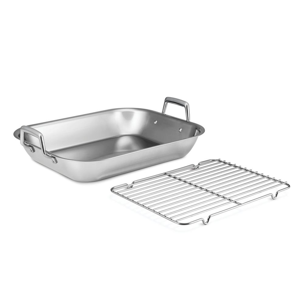 Gourmet Prima 10 Qt. Stainless Steel Roasting Pan with Basting Rack