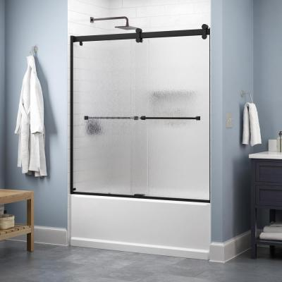 Lyndall 60 in. x 58-3/4 in. Contemporary Sliding Frameless Bathtub Door in Matte Black with Rain Glass