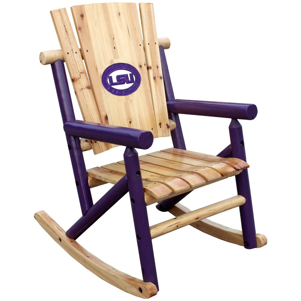Leigh Country Aspen Wood Patio Outdoor Rocking Chair With LSU Medallion