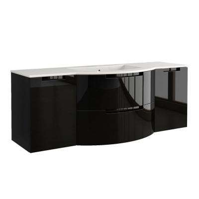 Oasi 57 in. Vanity in Glossy Black with Tekorlux Vanity Top in White with White Basin