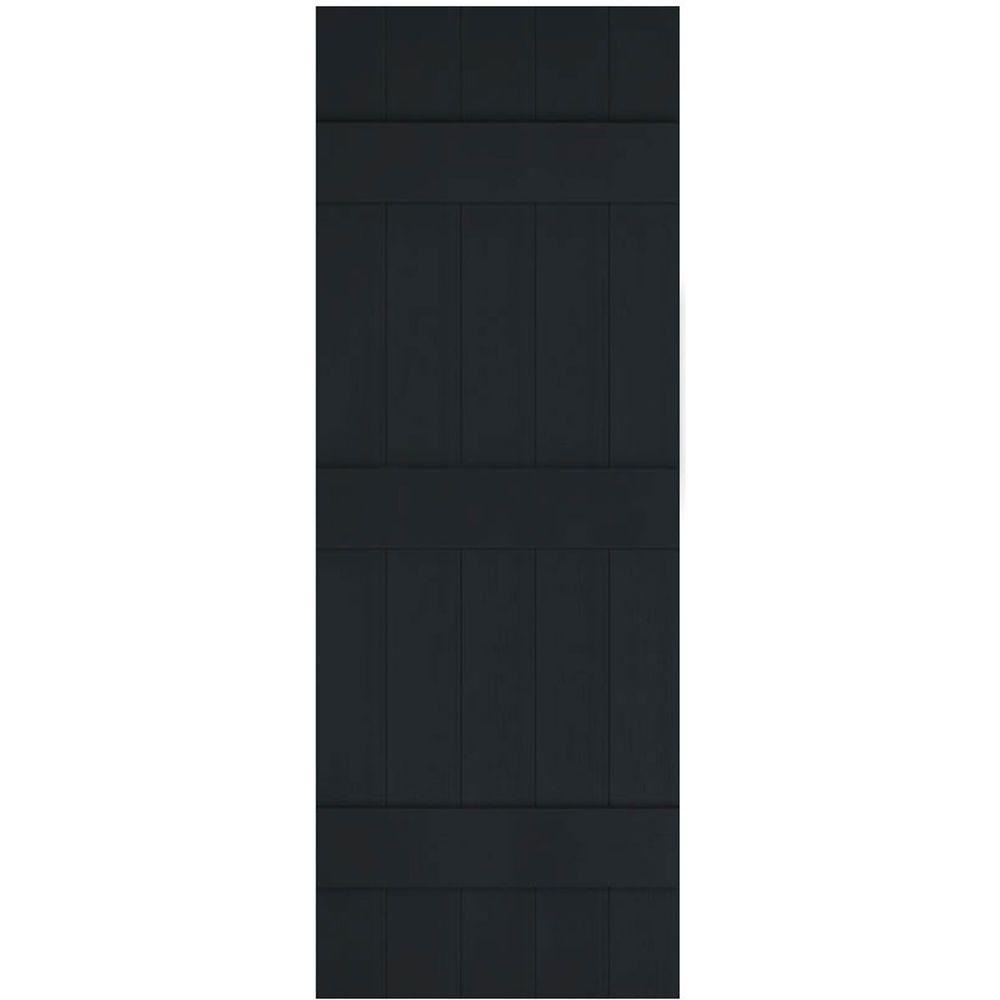 Ekena Millwork 17-1/2 in. x 94 in. Lifetime Vinyl Custom Five Board Joined Board and Batten Shutters Pair Black