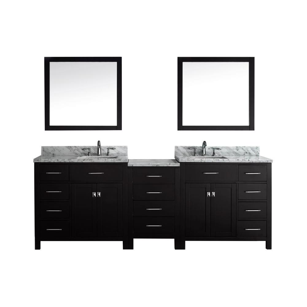 Incredible Virtu Usa Caroline Parkway 92 In W Bath Vanity In Espresso With Marble Vanity Top In White With Square Basin And Mirror Home Interior And Landscaping Ponolsignezvosmurscom