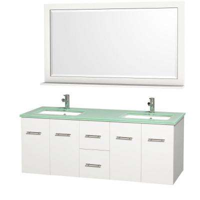 Centra 60 in. Double Vanity in White with Glass Vanity Top in Aqua and Square Porcelain Under-Mounted Sinks