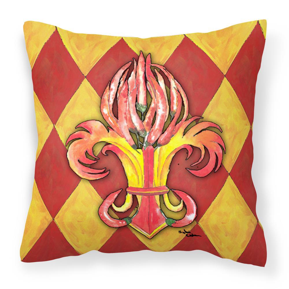 14 in. x 14 in. Multi-Color Lumbar Outdoor Throw Pillow Peppers Fleur de lis