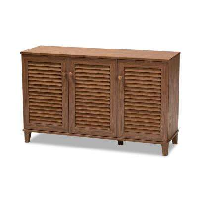 Coolidge 28 in. H x 45 in. W 16-Pair Walnut Wood Shoe Storage Cabinet
