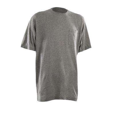 Men's 5 XL Regular Grey Heavy-Weight Short Sleeve Pocket T-Shirt