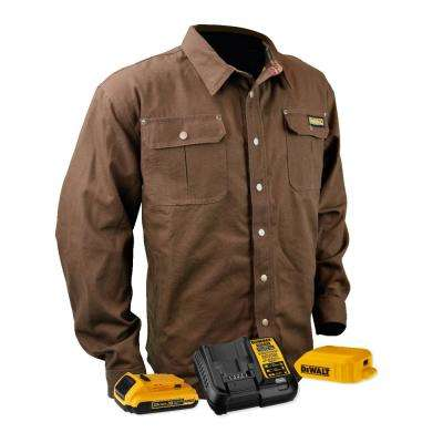 Unisex Small Tobacco Duck Fabric Heated Heavy Duty Shirt Jacket with 20-Volt/2.0 Amp Battery and Charger