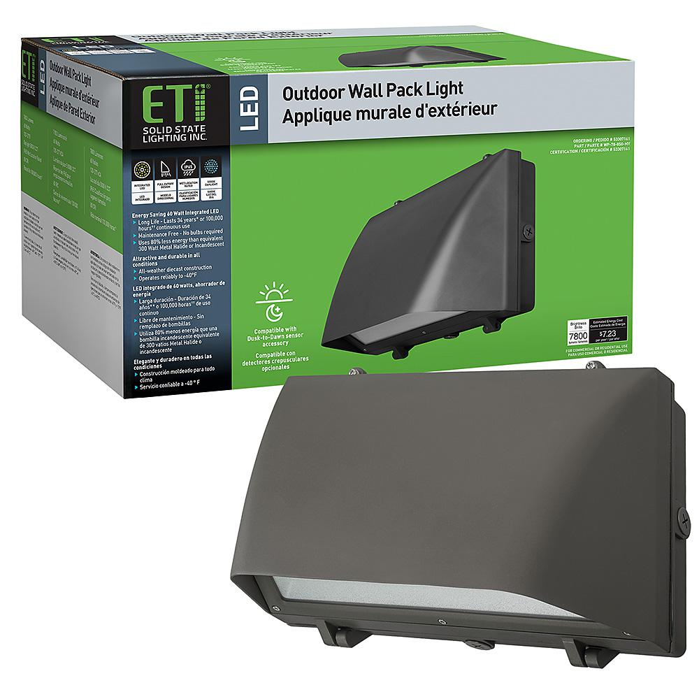 ETi 250-Watt Equivalent Integrated LED Bronze 16 in. Outdoor Security Wall Pack Light 5000K Full Cut Off 7800 Lumens