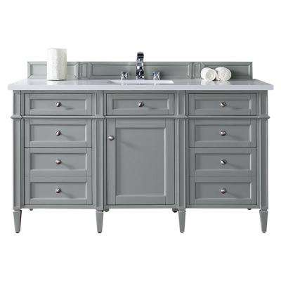 Brittany 60 in. W Single Vanity in Urban Gray with Quartz Vanity Top in White with White Basin