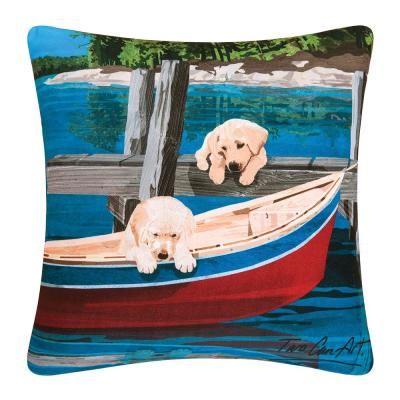 Puppies and Canoe Standard Pillow
