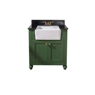 31 in. W x 19 in. D Vanity in Vogue Green with Granite Vanity Top in Black with White Basin