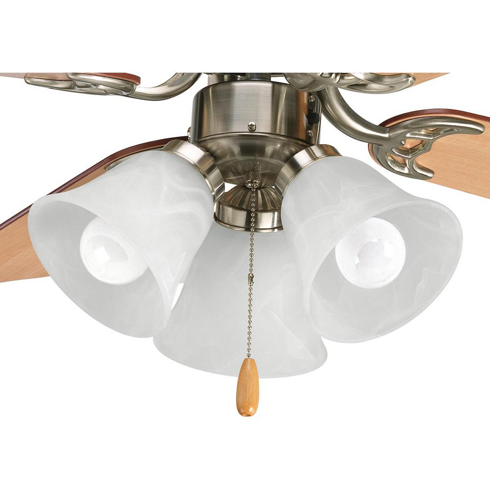 Fan Light Kits Collection 3-Light Brushed Nickel Ceiling Fan Light Kit