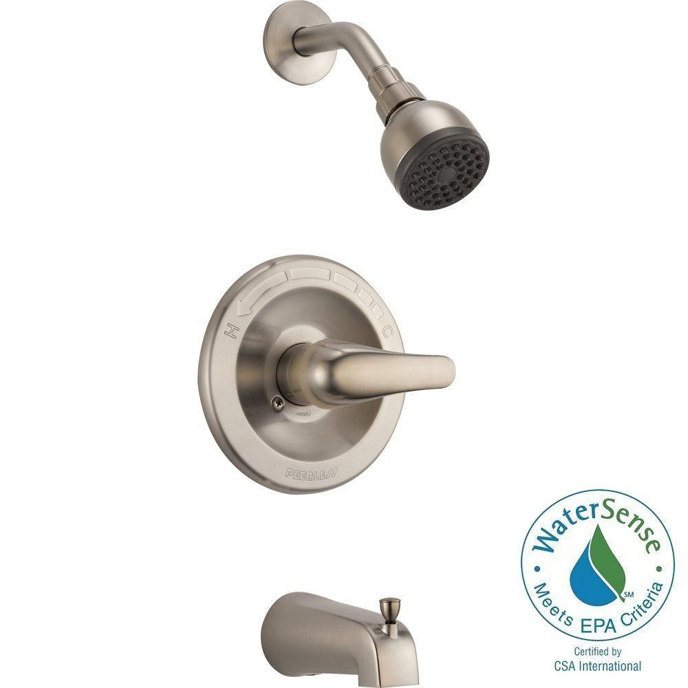 Peerless Single-Handle 1-Spray Tub and Shower Faucet in Brushed Nickel (Valve Included)