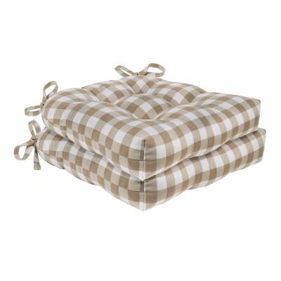 Buffalo Check Taupe Checkered Tufted Seat Cushion Chair Pad (Set of 2)