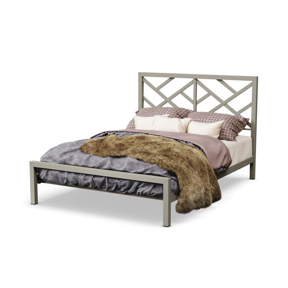 Windmill Matt Light Grey Metal Queen Size Bed