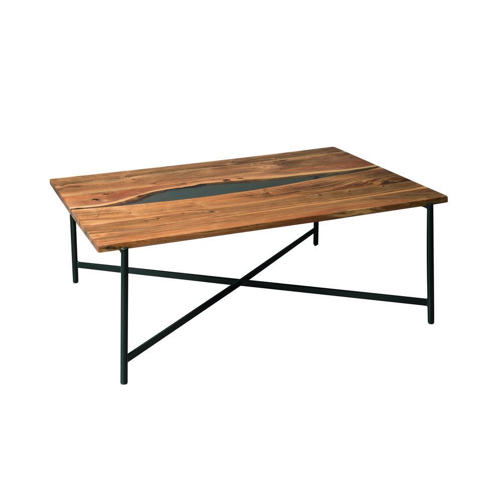 Rivers Edge 48'' Acacia Wood and Acrylic Coffee Table