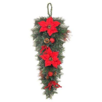 32 in. Unlit Mixed Pine Swag with Red Poinsettias