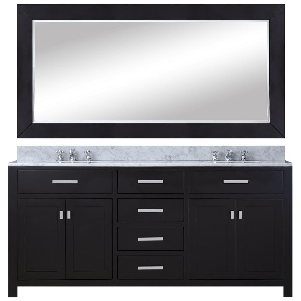 Water Creation 60 in. Vanity in Espresso with Marble Vanity Top in Carrara White and Mirror