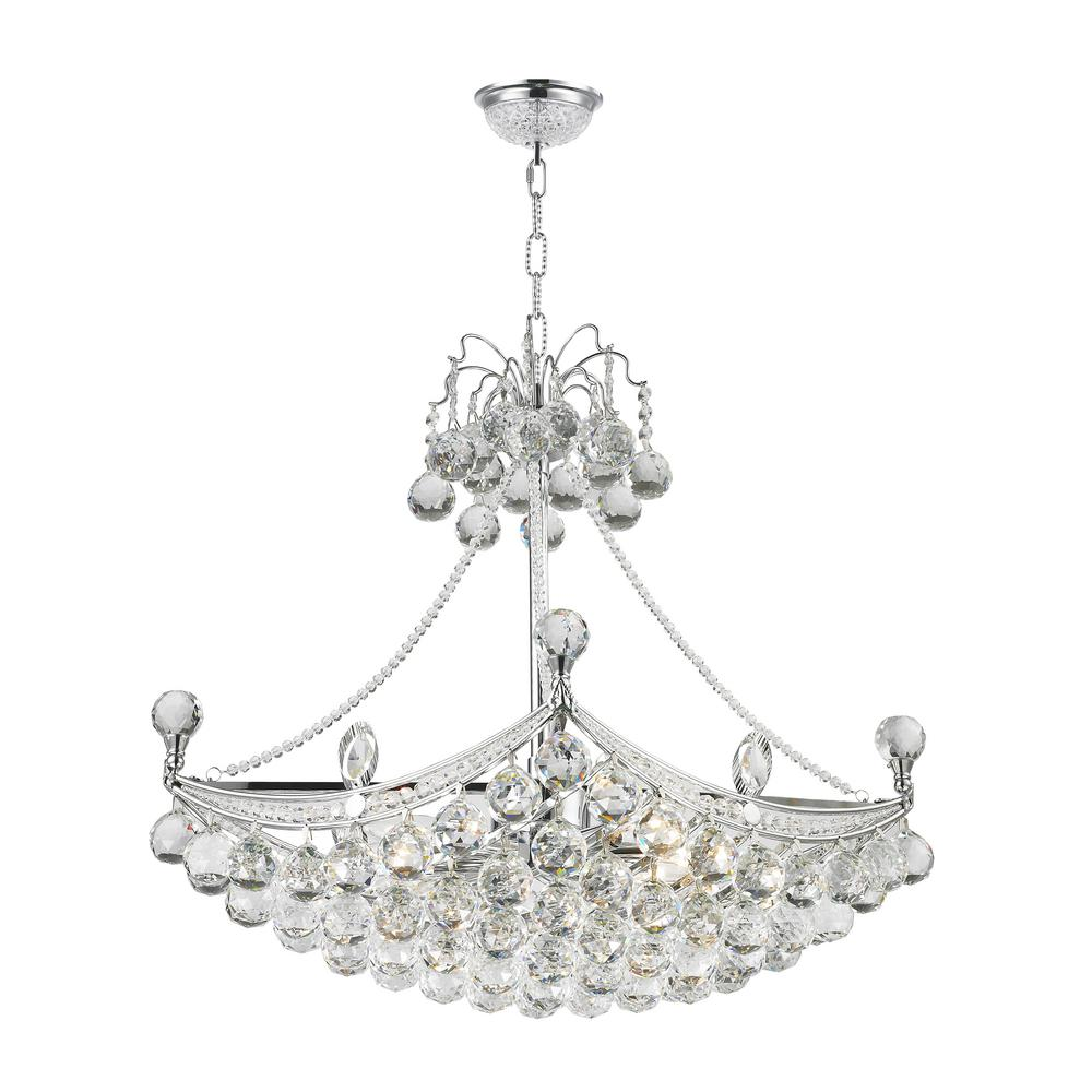 Jhea Chrome Indoor Crystal Chandelier with Shade-RL8086 - The Home ...