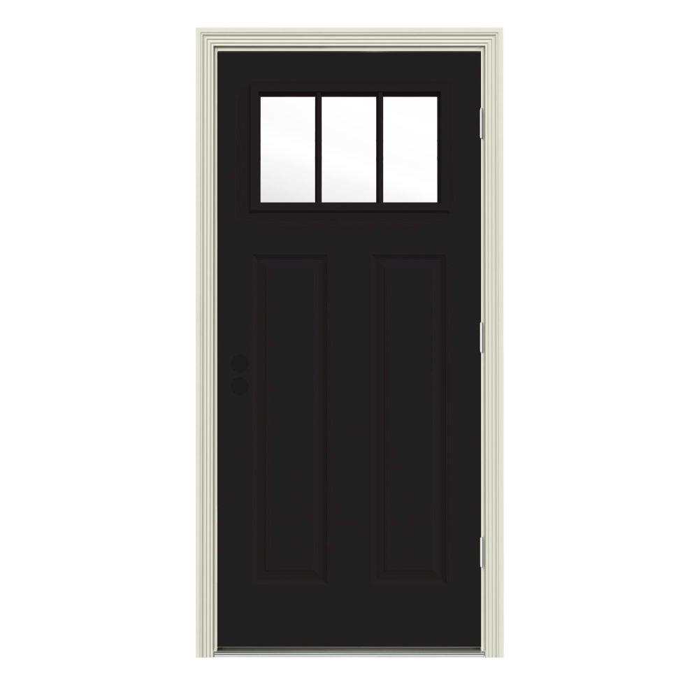 JELD-WEN 32 in. x 80 in. 3 Lite Craftsman Black Painted Steel Prehung Left-Hand Outswing Front Door w/Brickmould